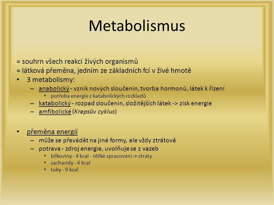 Metabolismus = souhrn všech reakcí živých organismů