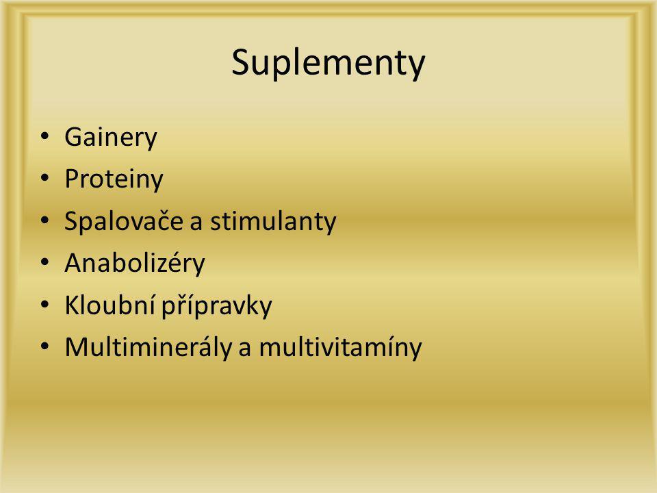 Suplementy Gainery Proteiny Spalovače a stimulanty Anabolizéry