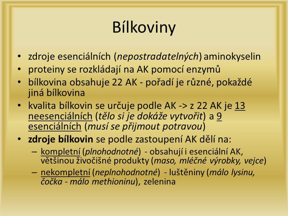 Bílkoviny zdroje esenciálních (nepostradatelných) aminokyselin