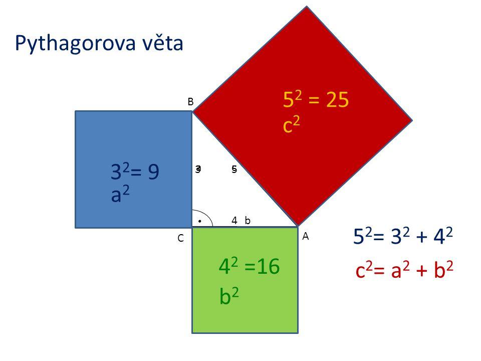 Pythagorova věta 52 = 25 c2 32= 9 a2 52= 32 + 42 42 =16 c2= a2 + b2 b2