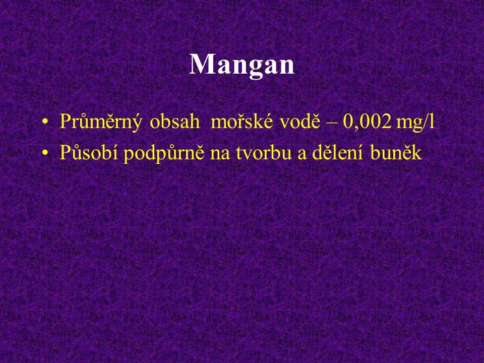 Mangan Průměrný obsah mořské vodě – 0,002 mg/l