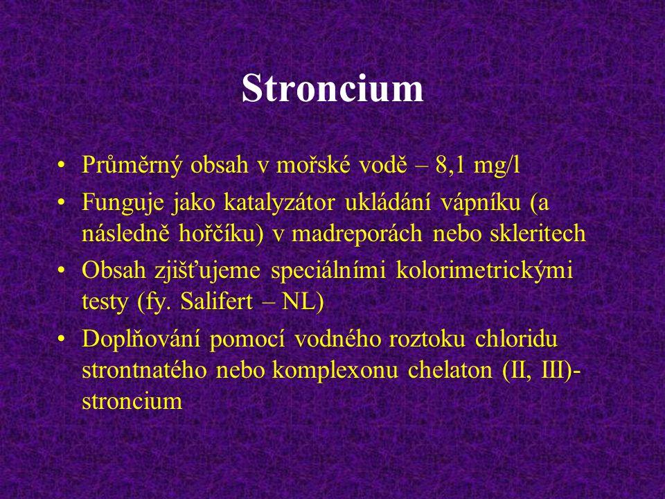 Stroncium Průměrný obsah v mořské vodě – 8,1 mg/l