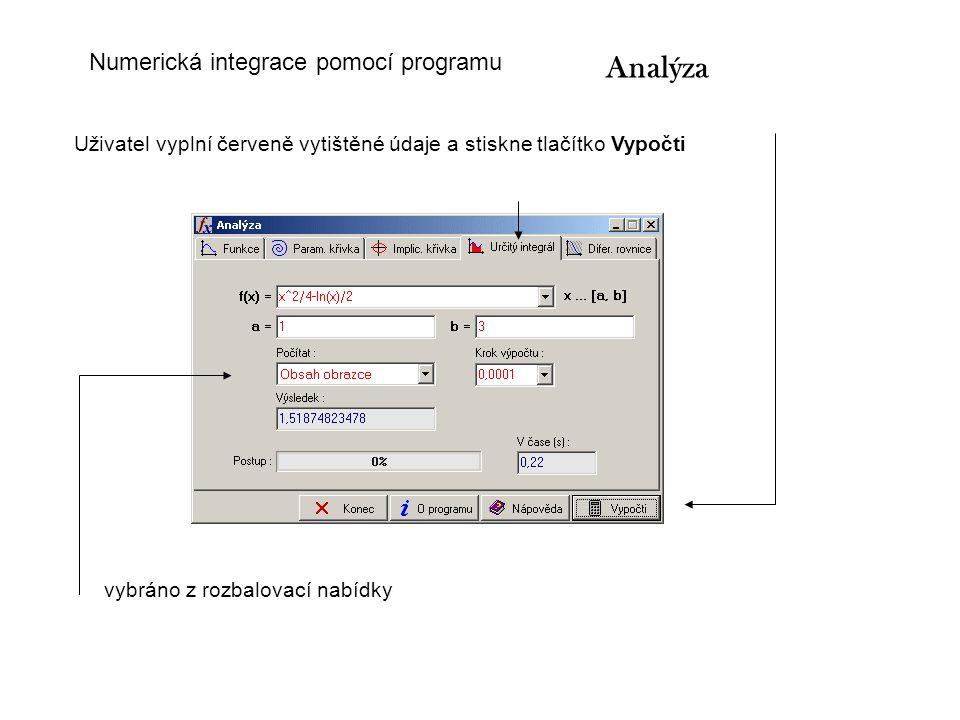 Analýza Numerická integrace pomocí programu
