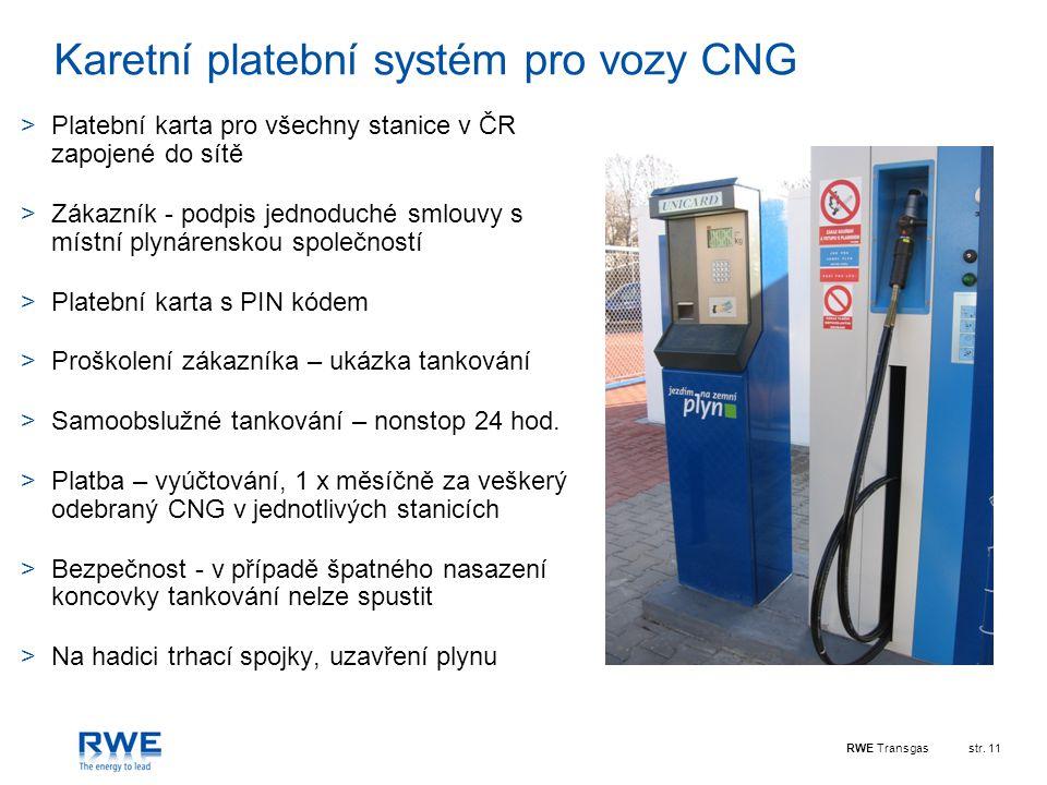 Karetní platební systém pro vozy CNG