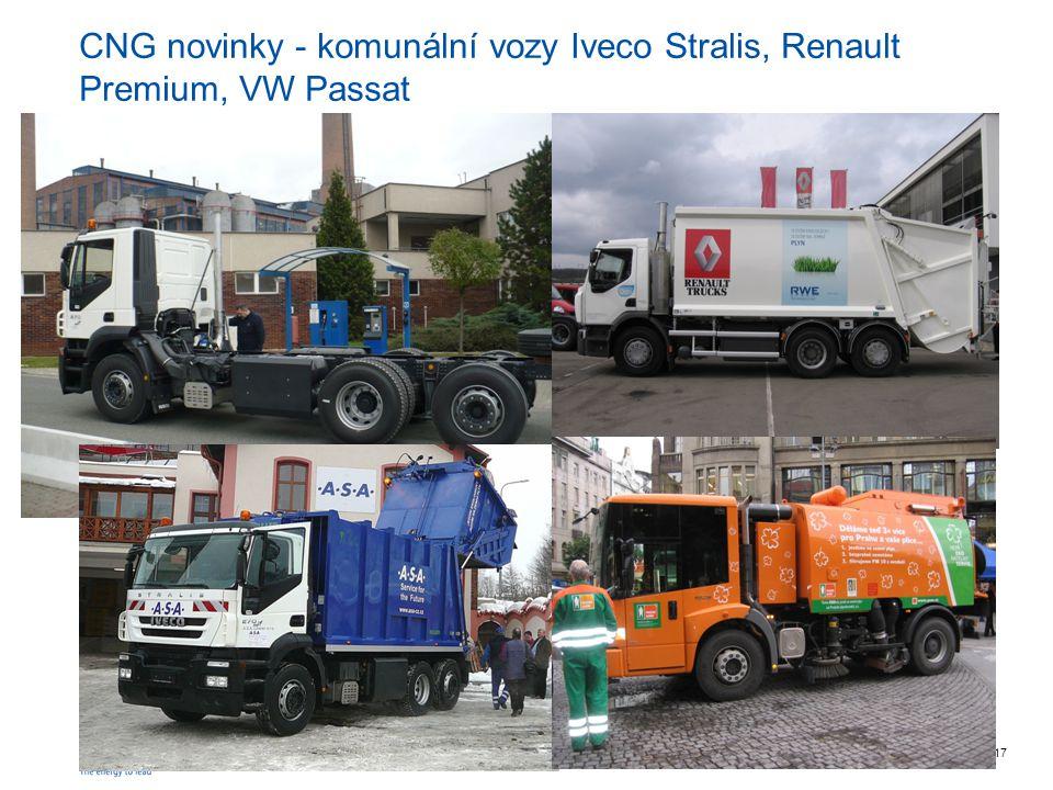 CNG novinky - komunální vozy Iveco Stralis, Renault Premium, VW Passat