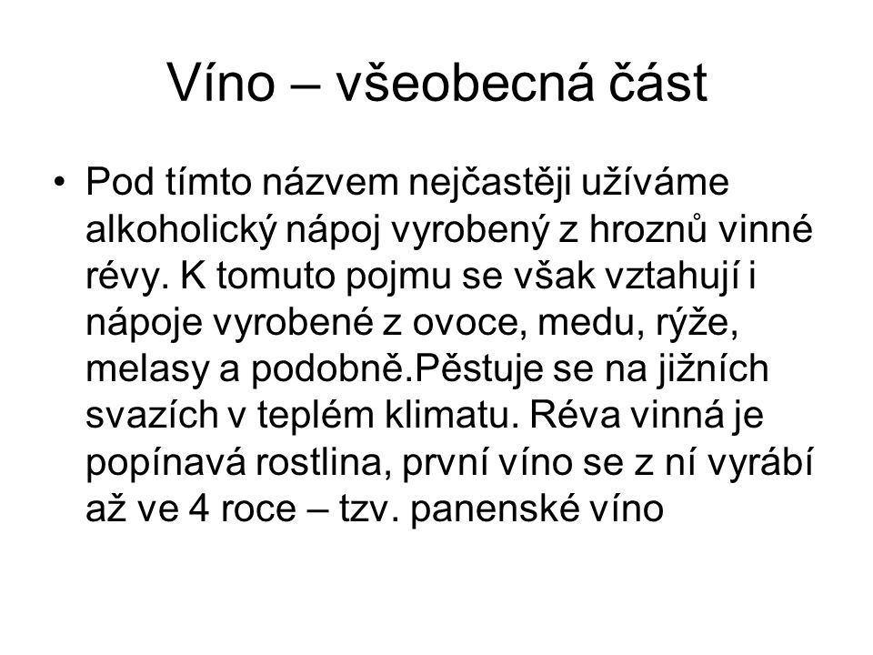 Víno – všeobecná část