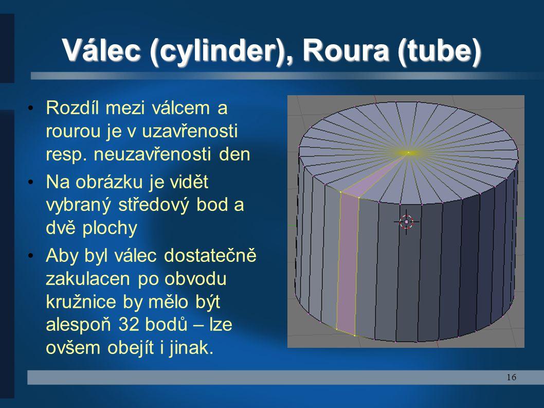 Válec (cylinder), Roura (tube)