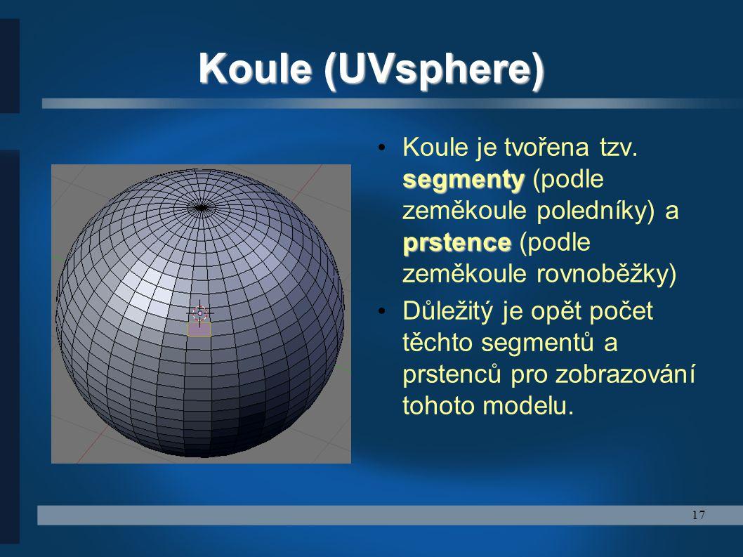 Koule (UVsphere) Koule je tvořena tzv. segmenty (podle zeměkoule poledníky) a prstence (podle zeměkoule rovnoběžky)