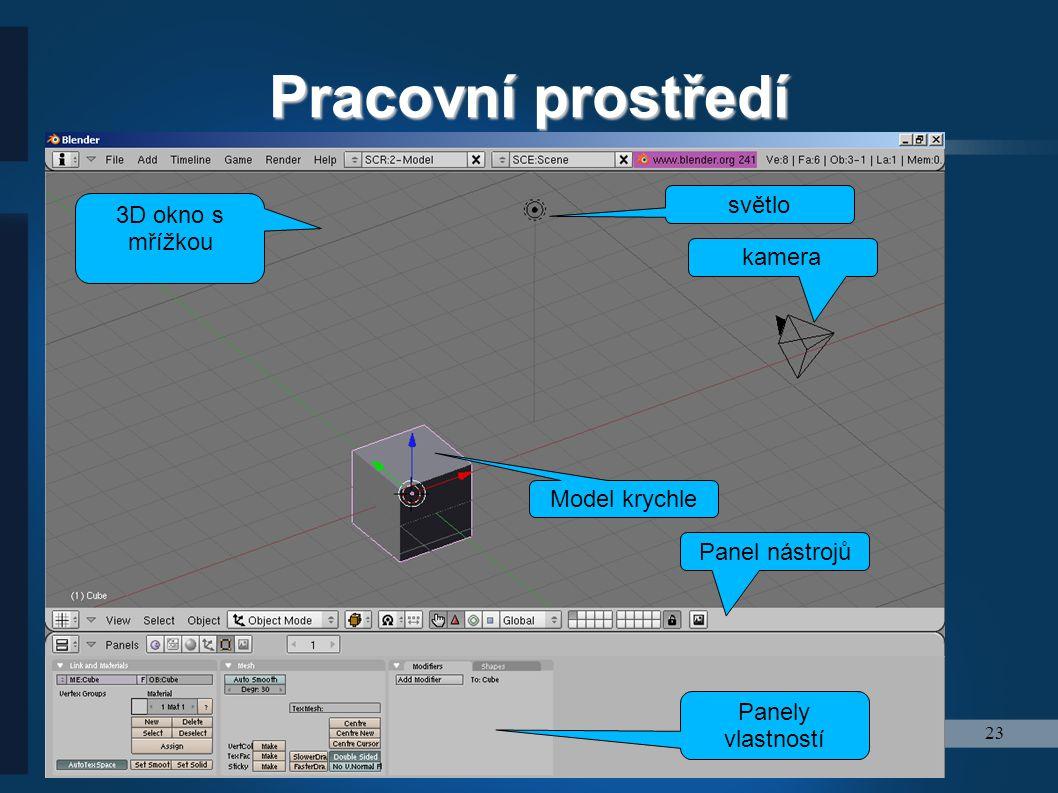 Pracovní prostředí světlo 3D okno s mřížkou kamera Model krychle