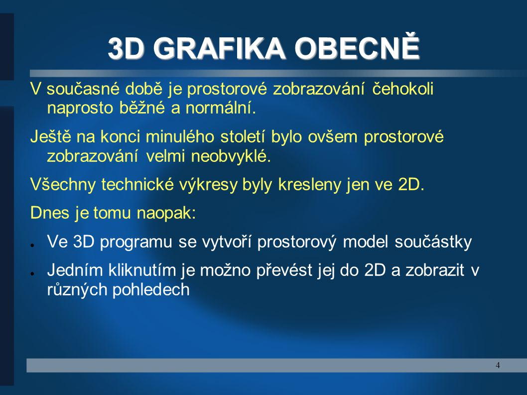 3D GRAFIKA OBECNĚ V současné době je prostorové zobrazování čehokoli naprosto běžné a normální.