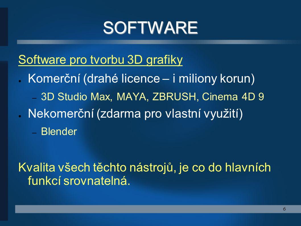 SOFTWARE Software pro tvorbu 3D grafiky