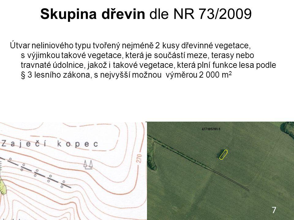 Skupina dřevin dle NR 73/2009