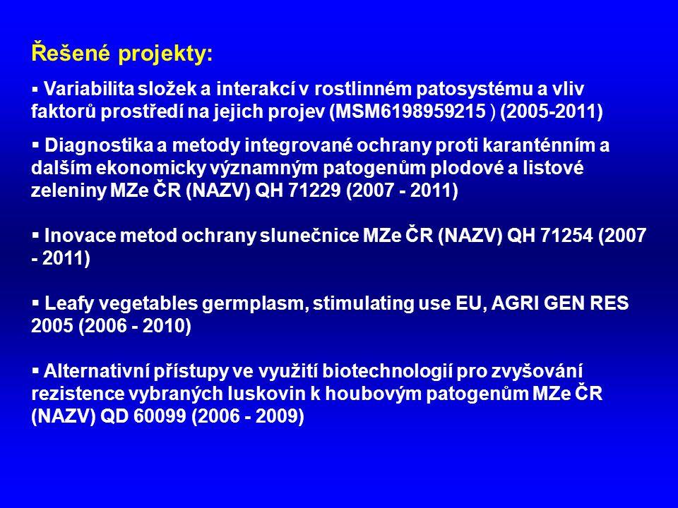 Řešené projekty: Variabilita složek a interakcí v rostlinném patosystému a vliv faktorů prostředí na jejich projev (MSM6198959215 ) (2005-2011)