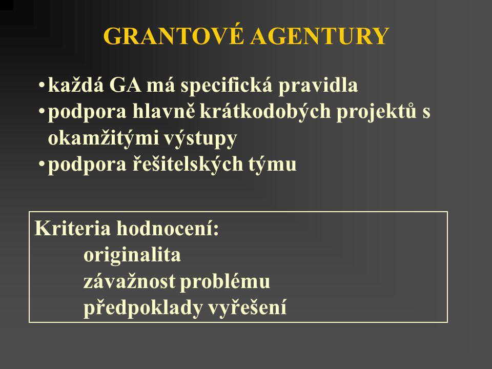 GRANTOVÉ AGENTURY každá GA má specifická pravidla