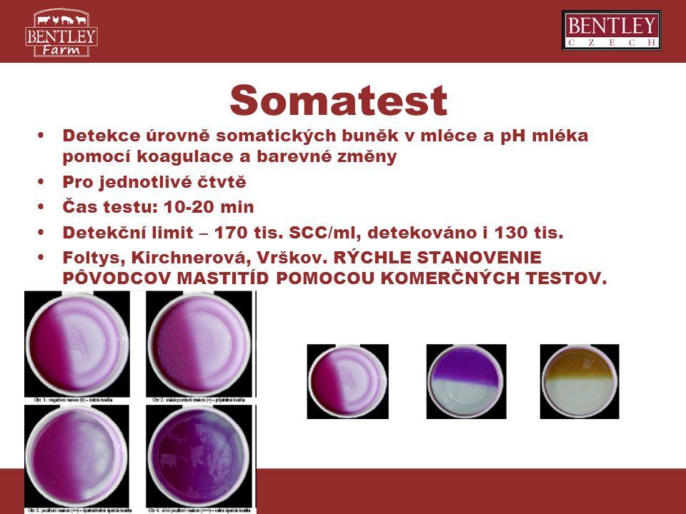 Somatest Detekce úrovně somatických buněk v mléce a pH mléka pomocí koagulace a barevné změny. Pro jednotlivé čtvtě.