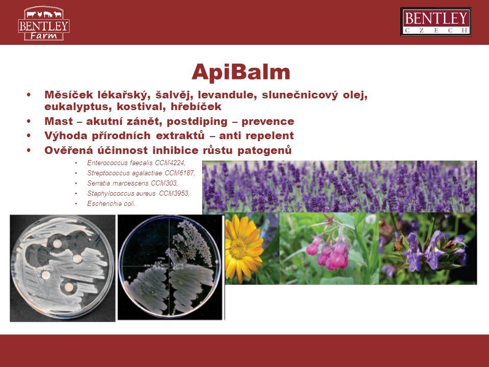 ApiBalm Měsíček lékařský, šalvěj, levandule, slunečnicový olej, eukalyptus, kostival, hřebíček. Mast – akutní zánět, postdiping – prevence.