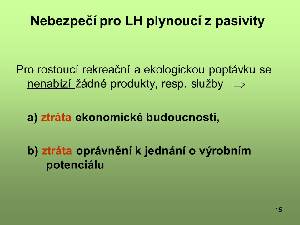 Nebezpečí pro LH plynoucí z pasivity