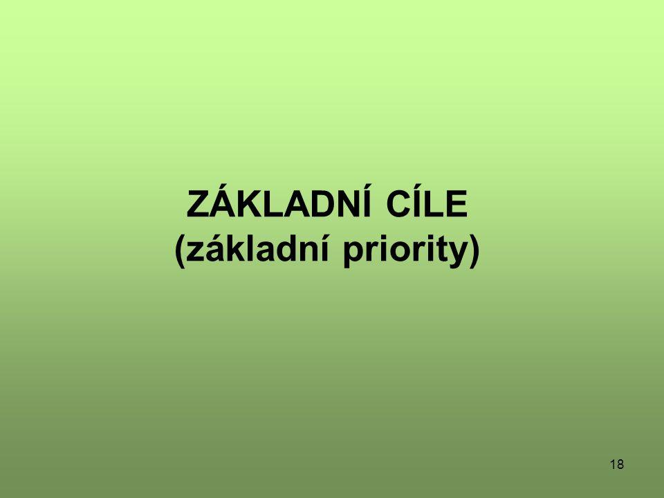 ZÁKLADNÍ CÍLE (základní priority)