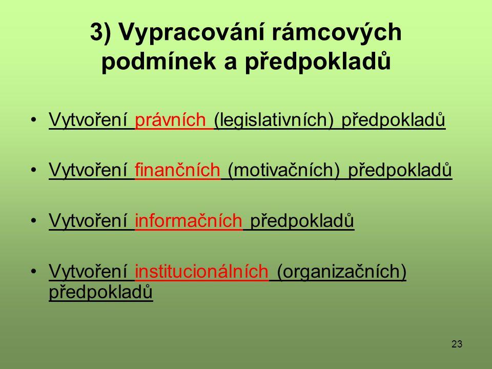 3) Vypracování rámcových podmínek a předpokladů