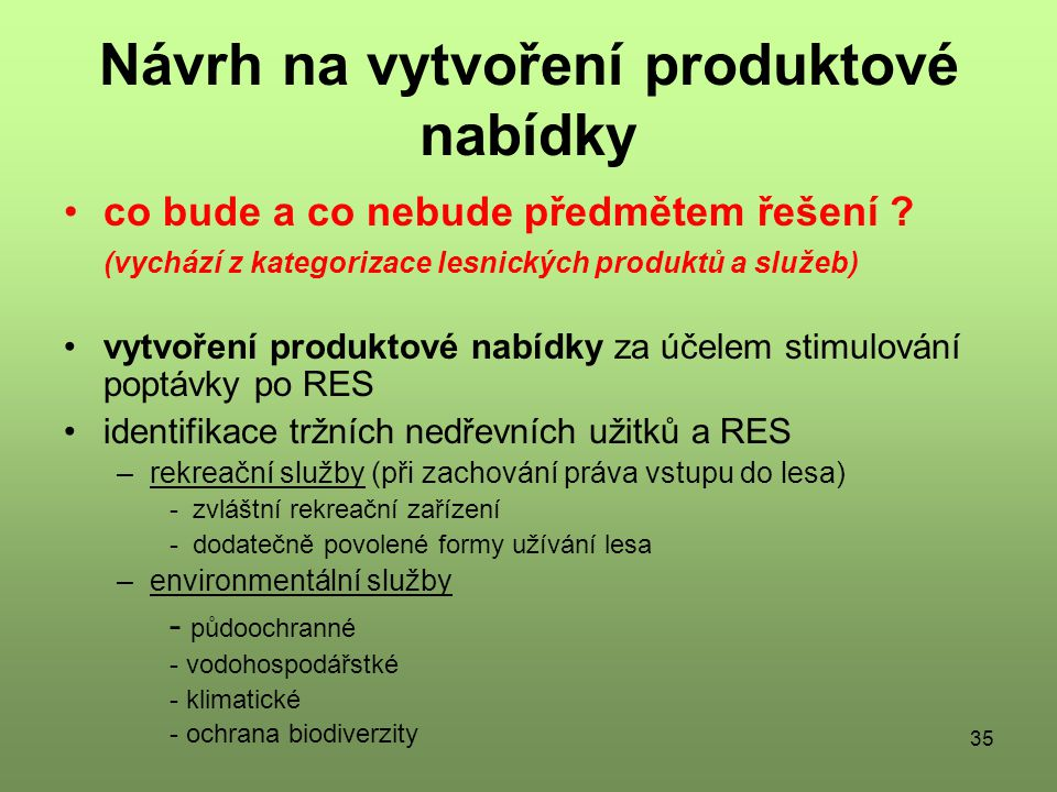 Návrh na vytvoření produktové nabídky