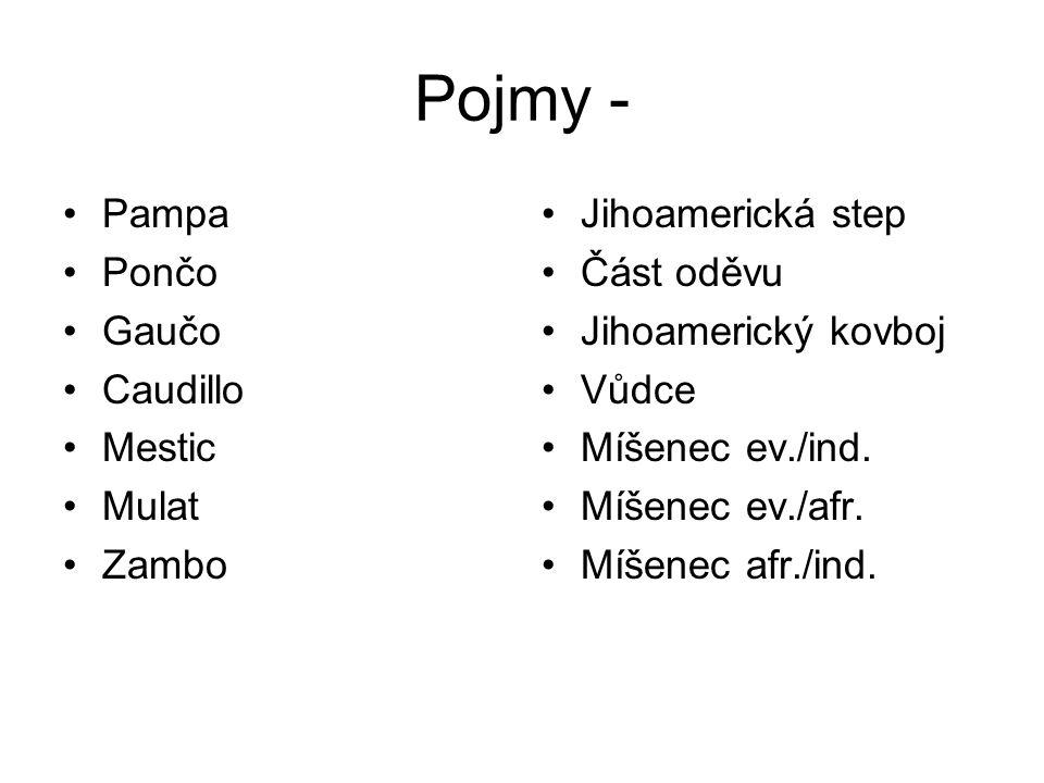 Pojmy - Pampa Pončo Gaučo Caudillo Mestic Mulat Zambo