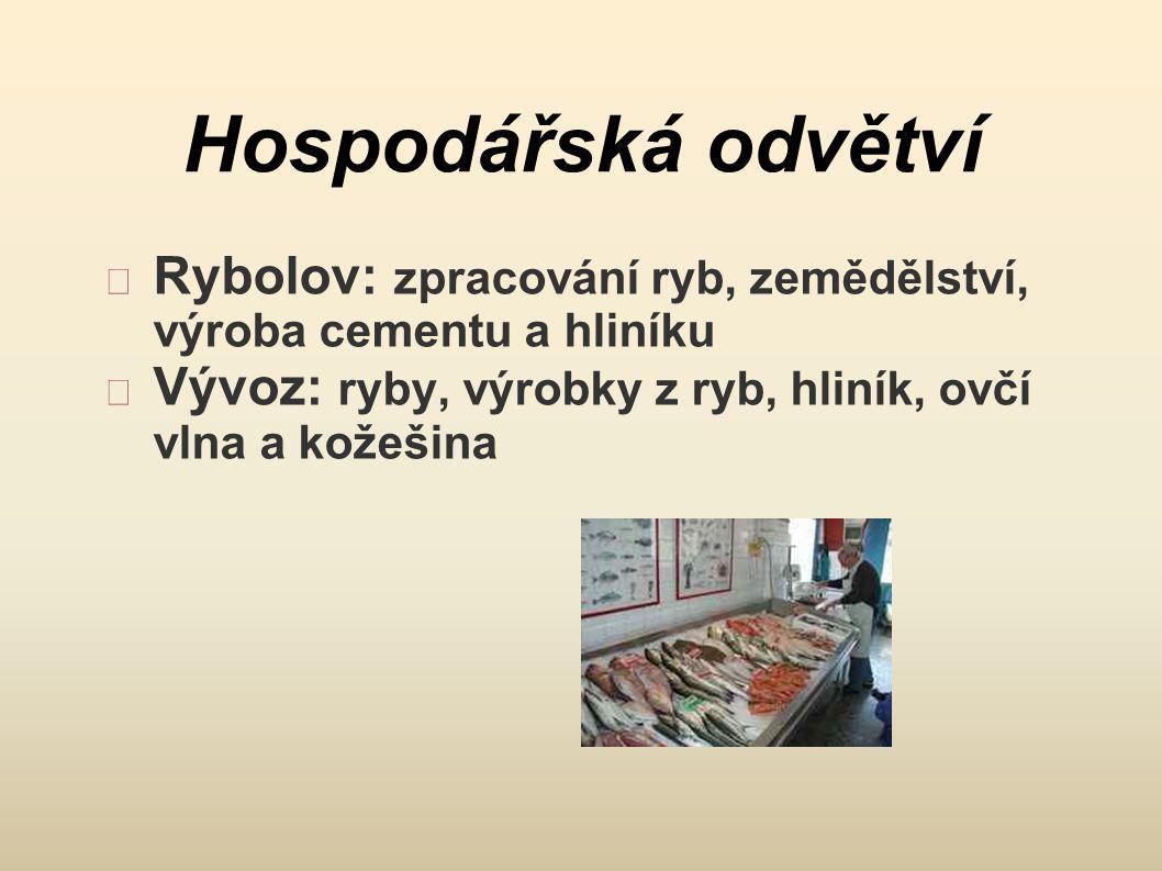 Hospodářská odvětví Rybolov: zpracování ryb, zemědělství, výroba cementu a hliníku.
