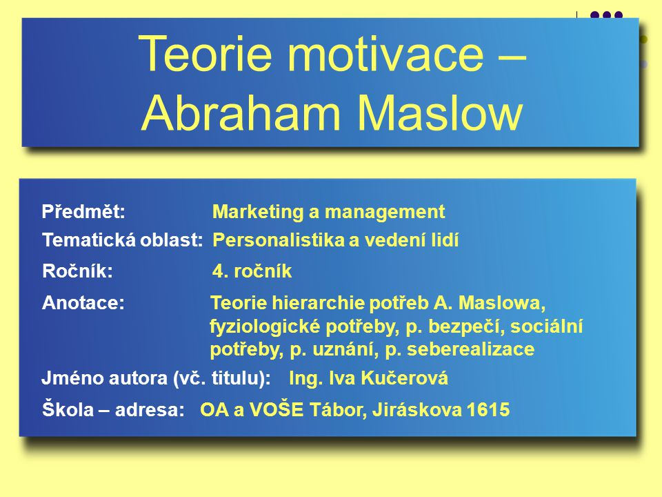 Teorie motivace – Abraham Maslow