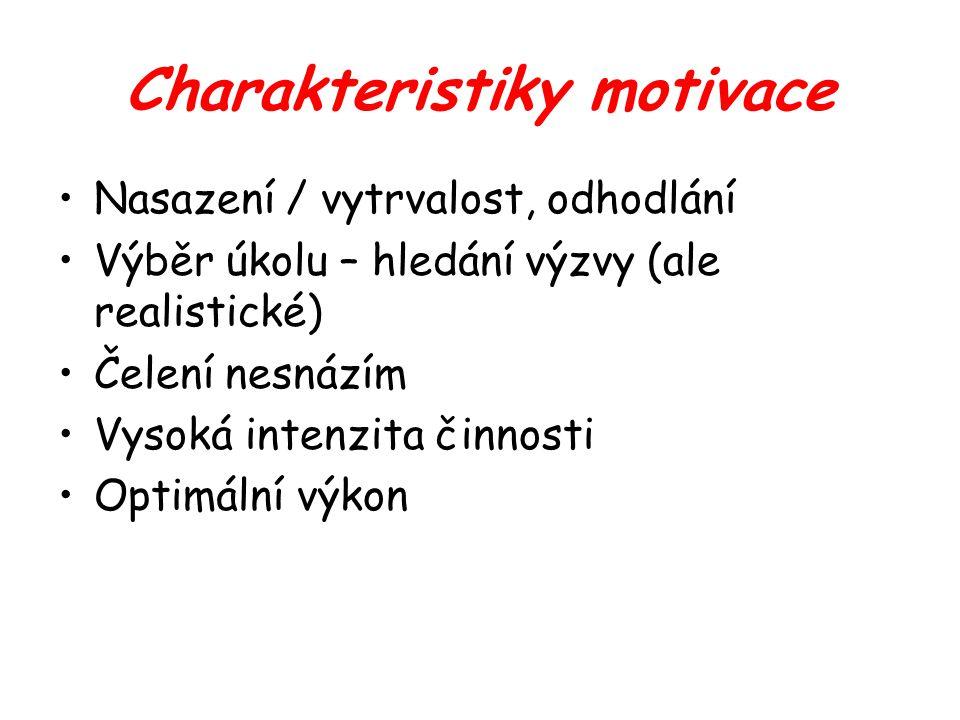 Charakteristiky motivace