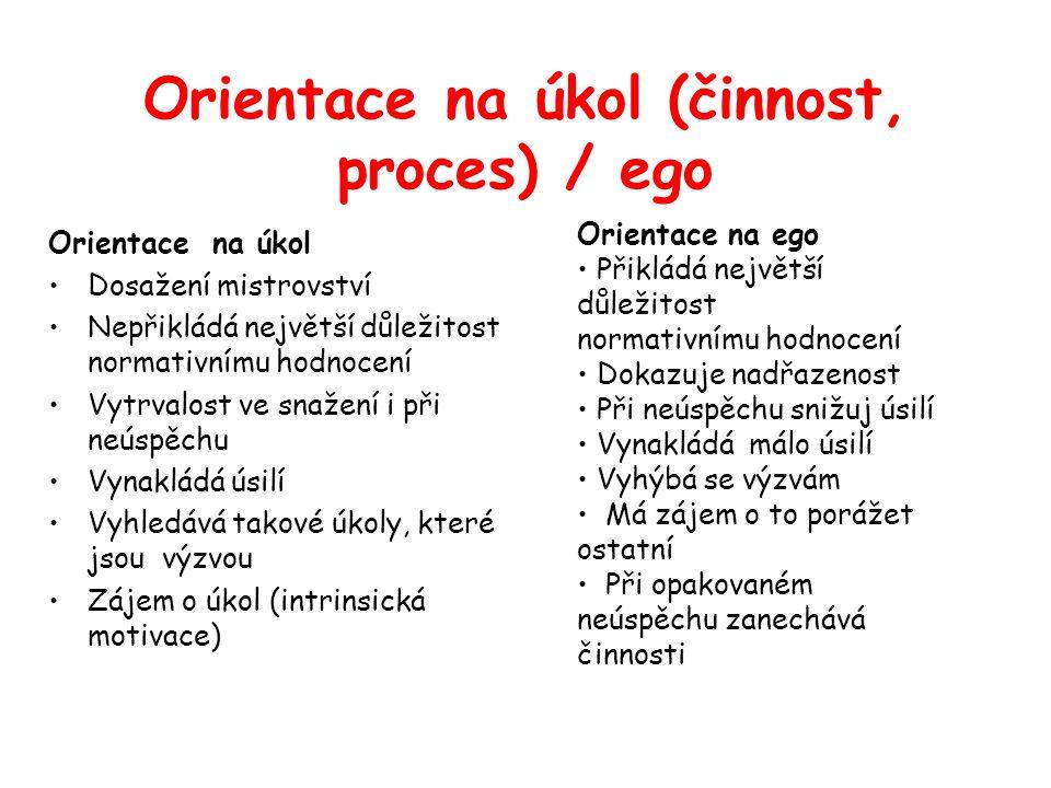 Orientace na úkol (činnost, proces) / ego