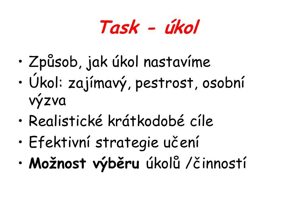 Task - úkol Způsob, jak úkol nastavíme