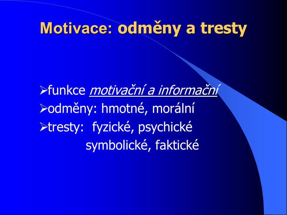 Motivace: odměny a tresty