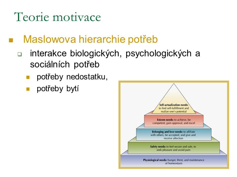 Teorie motivace Maslowova hierarchie potřeb
