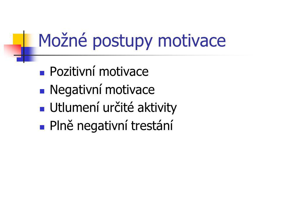 Možné postupy motivace