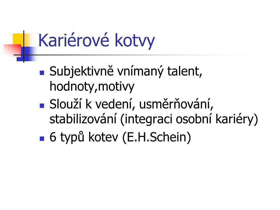 Kariérové kotvy Subjektivně vnímaný talent, hodnoty,motivy