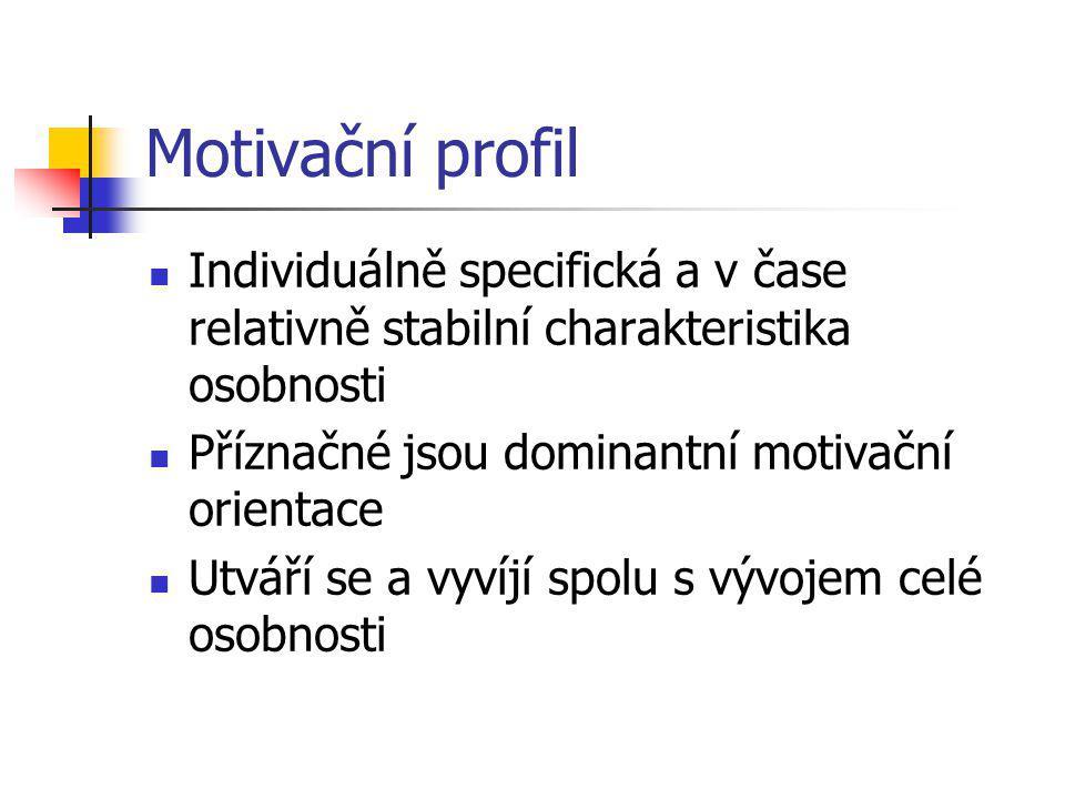 Motivační profil Individuálně specifická a v čase relativně stabilní charakteristika osobnosti. Příznačné jsou dominantní motivační orientace.