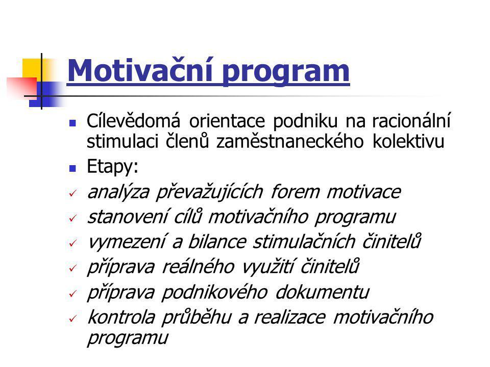 Motivační program Cílevědomá orientace podniku na racionální stimulaci členů zaměstnaneckého kolektivu.