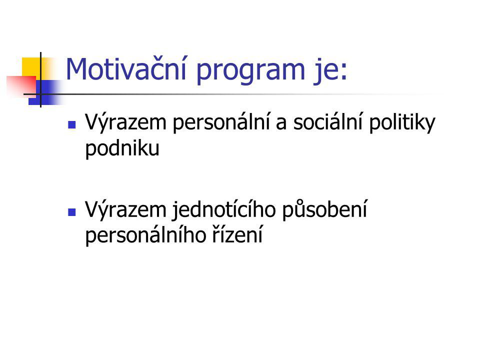 Motivační program je: Výrazem personální a sociální politiky podniku