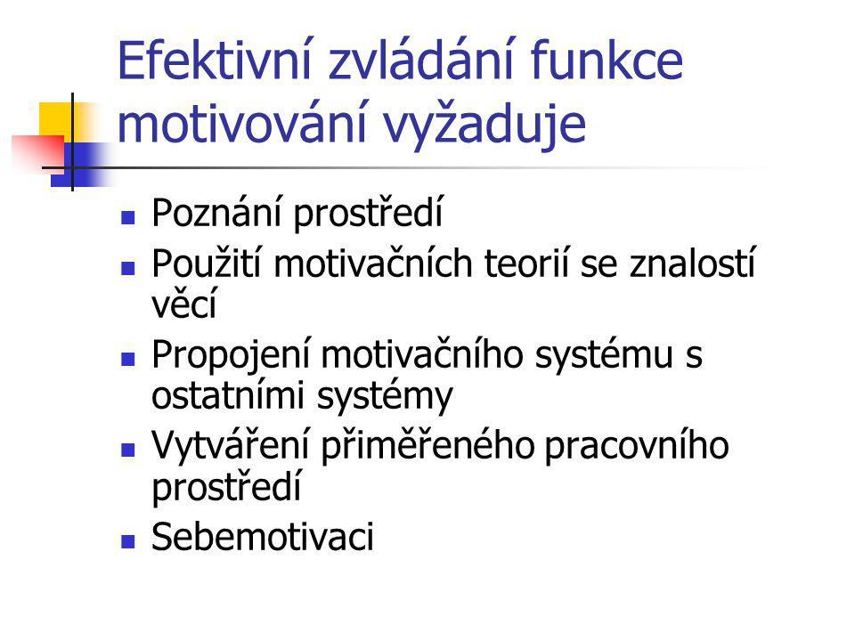 Efektivní zvládání funkce motivování vyžaduje