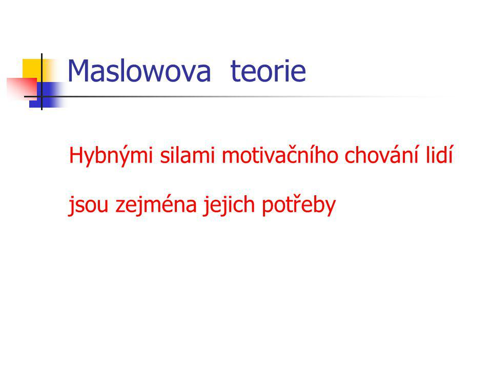 Maslowova teorie Hybnými silami motivačního chování lidí