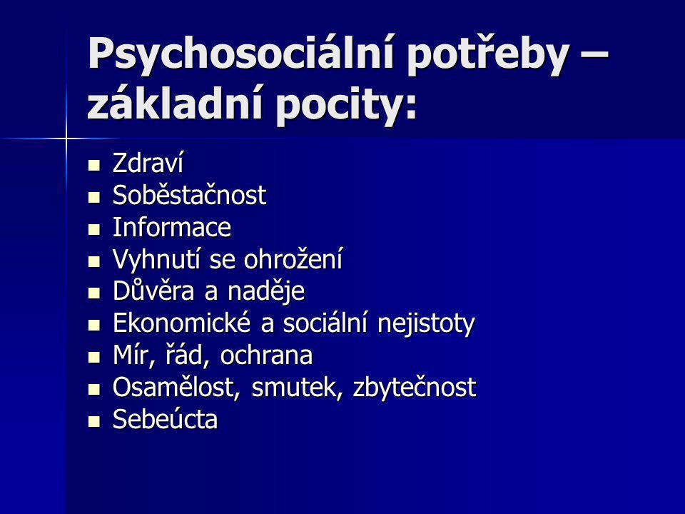 Psychosociální potřeby – základní pocity: