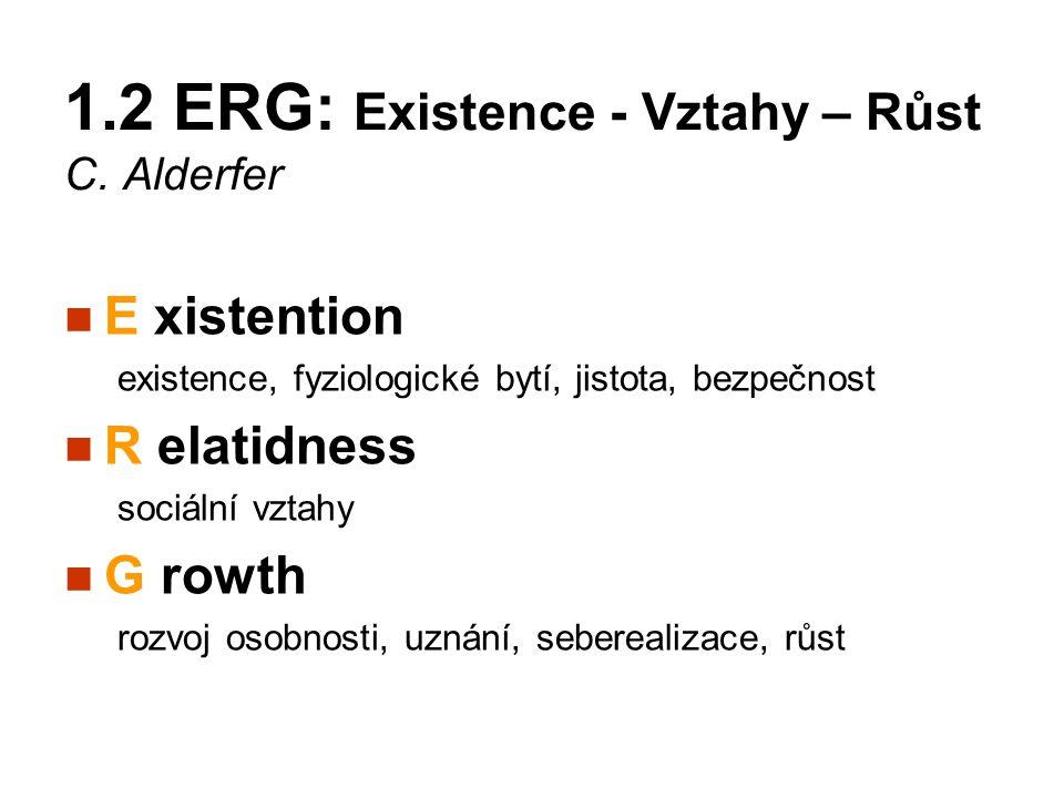 1.2 ERG: Existence - Vztahy – Růst C. Alderfer