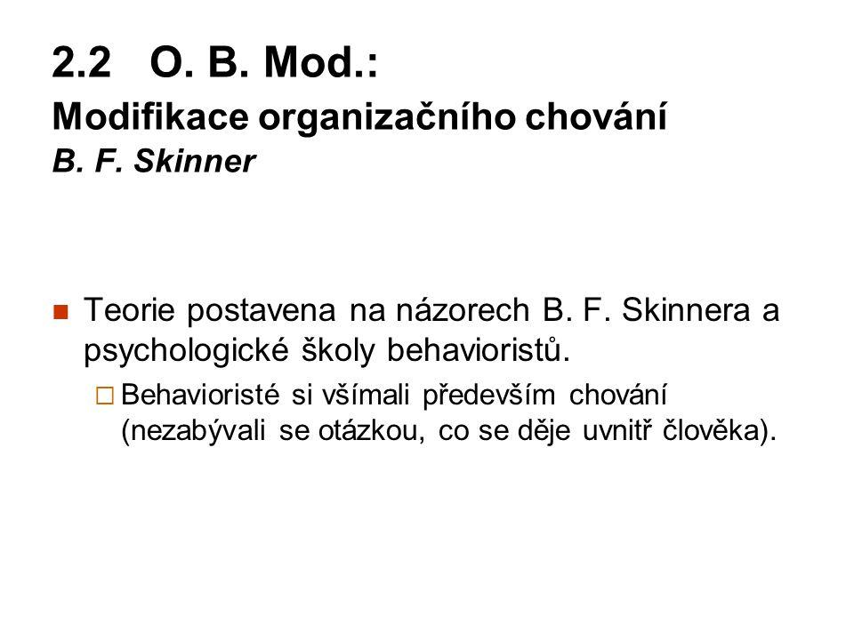 2.2 O. B. Mod.: Modifikace organizačního chování B. F. Skinner