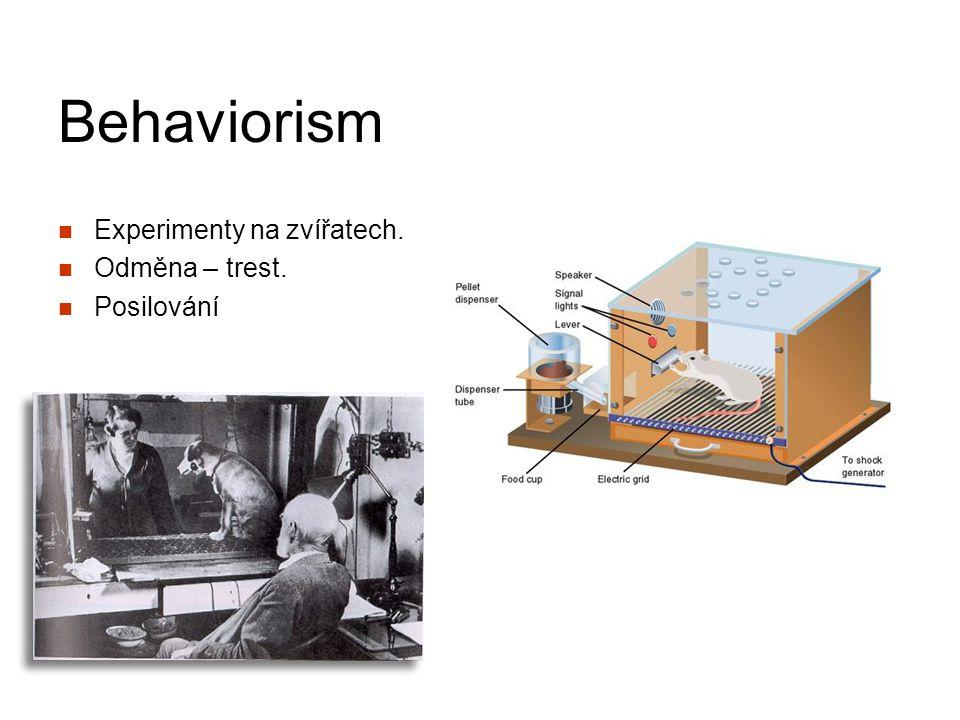 Behaviorism Experimenty na zvířatech. Odměna – trest. Posilování