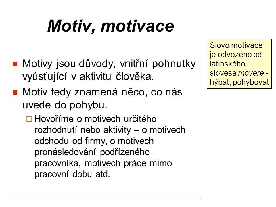 Motiv, motivace Slovo motivace je odvozeno od latinského slovesa movere - hýbat, pohybovat.