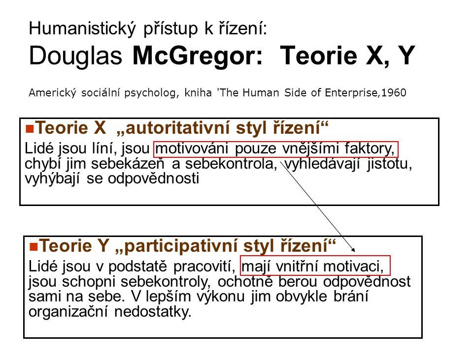 """Teorie X """"autoritativní styl řízení"""