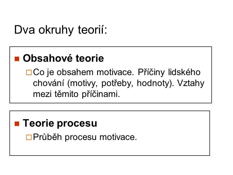 Dva okruhy teorií: Obsahové teorie Teorie procesu