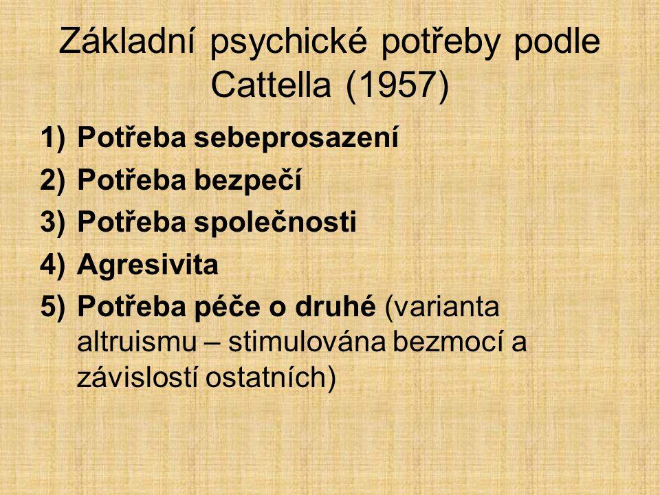 Základní psychické potřeby podle Cattella (1957)