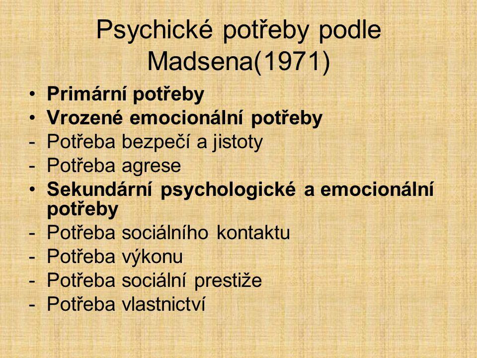 Psychické potřeby podle Madsena(1971)