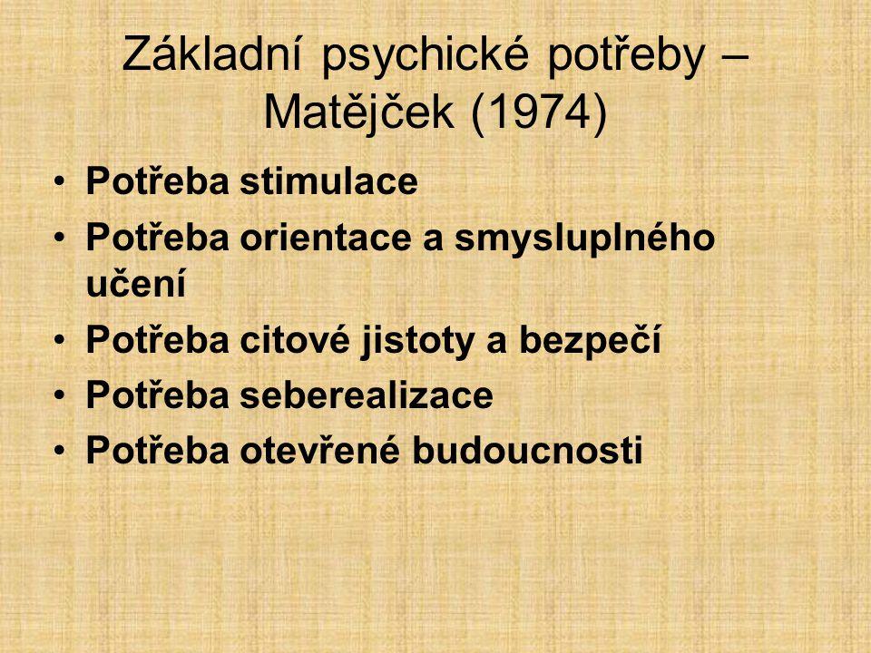 Základní psychické potřeby – Matějček (1974)