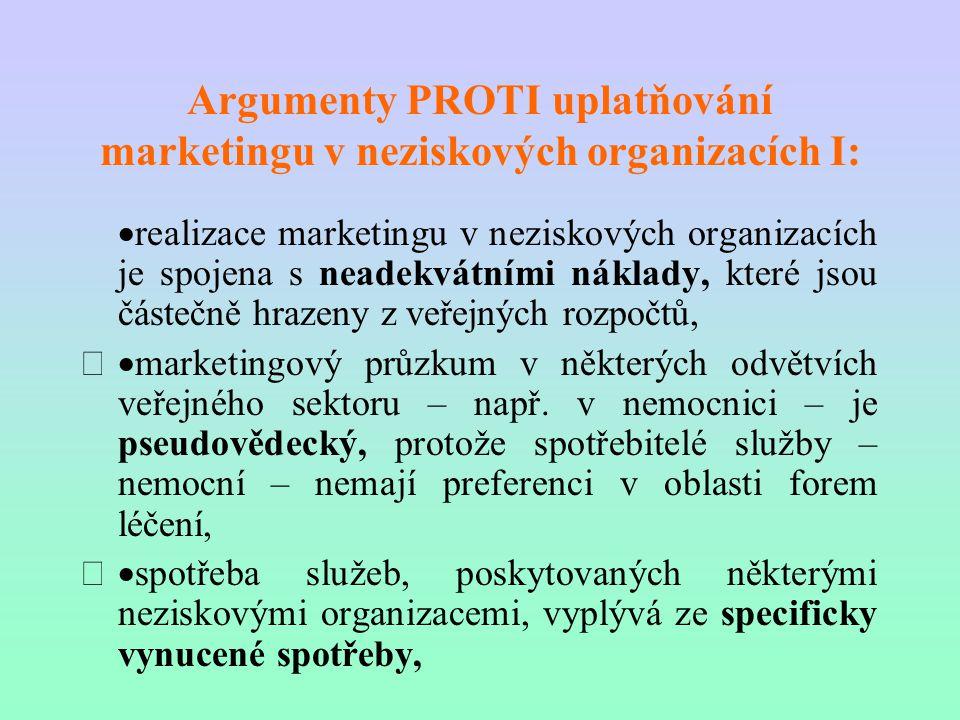 Argumenty PROTI uplatňování marketingu v neziskových organizacích I: